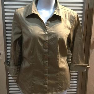 DRESSBARN sz14-16 tan button down collared shirt